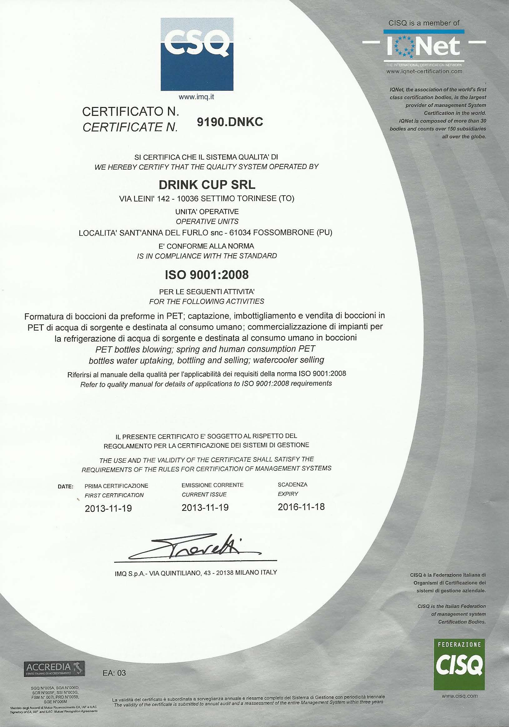 drink cup ISO 9001 csq certificazione